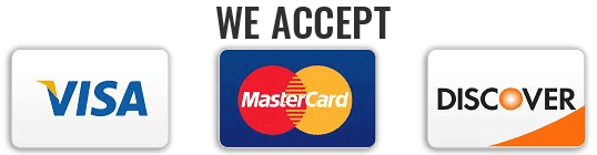 Credit Cards Accepted are Visa, Mastercard, or Discover